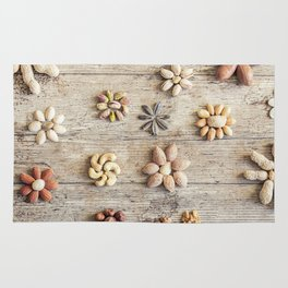 Dried fruits arranged forming flowers (4) Rug