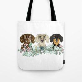 Triple Dachshunds Floral Tote Bag