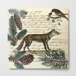 western country fairy rustic woodland nursery winter pine forest animal fox Metal Print
