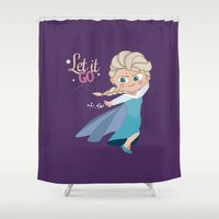 elsa Shower Curtains featuring Elsa by An Illustrated Dream