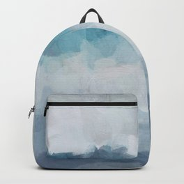 Aqua Teal Turquoise Sky Blue White Gray Abstract Art Modern Painting Backpack