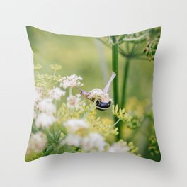 Fine Art snail in a field of wild flowers, Utrecht, the Netherlands | Colorful macro photography Throw Pillow