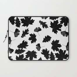Falling Autumn Leaves in Black and White Laptop Sleeve