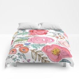 Watercolor Floral Print Comforters