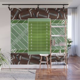 Green Football Field and Footballs Wall Mural