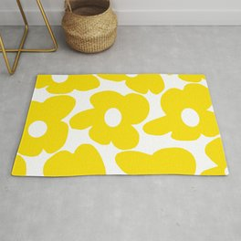 Large Yellow Retro Flowers on White Background #decor #society6 #buyart Rug