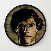 cumberbatch Wall Clocks featuring Cumberbatch as Sherlock Holmes by André Joseph Martin