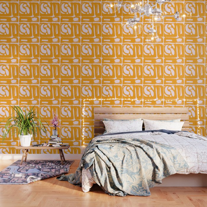 Abstract in Yellow and Cream Wallpaper