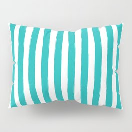 Turquoise and White Cabana Stripes Palm Beach Preppy Pillow Sham