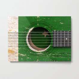 Old Vintage Acoustic Guitar with Pakistani Flag Metal Print