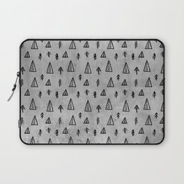 Black abstract tree pattern on concrete  - Mix&Match with Simplicty of life Laptop Sleeve