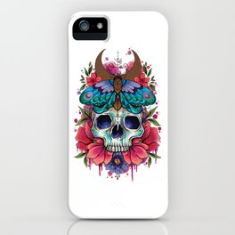 Neo Traditional Skull and Moth watercolor design iPhone Case