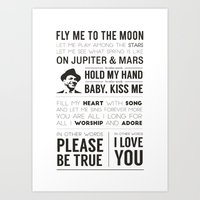 Fly Me to the Moon Typography Poster Art Print