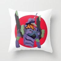 evangelion Throw Pillows featuring Evangelion   Eva-01 by incognek0
