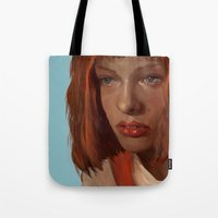 fifth element Tote Bags featuring leeloo - the fifth element by salem jones