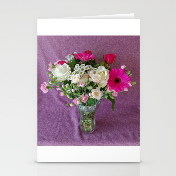 Flowers in a vase - pink gerberas, carnations, daisies, red and white roses Stationery Cards