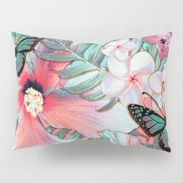 Peachy Mint Hibiscus Tropical Pillow Sham