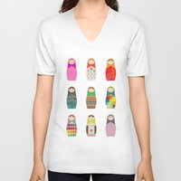 russian V-neck T-shirts featuring Russian Dollz by malobi