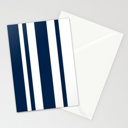Mixed Vertical Stripes - White and Oxford Blue Stationery Cards