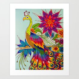 Rainbow Peacock Art Print