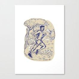 Marathon Runner Running Drawing Canvas Print