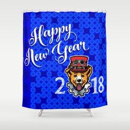 Happy New Year 2018 Yellow Dog Shower Curtain