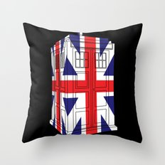 Tardis 3D UK flag Throw Pillow