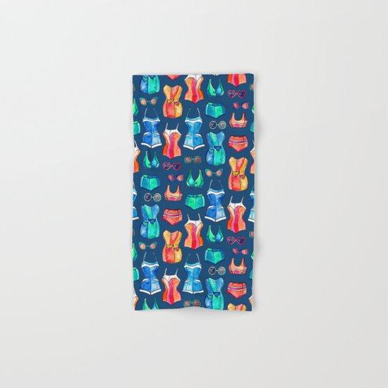 Sixties Swimsuits and Sunnies on dark blue Hand & Bath Towel