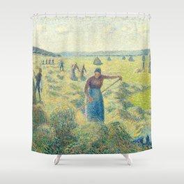 """Camille Pissarro """"La Récolte des Foins, Éragny""""(""""The Hay Harvest"""") Shower Curtain"""