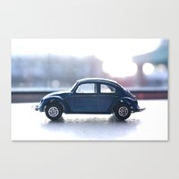volkswagon Canvas Prints featuring blue bug by AP Photography