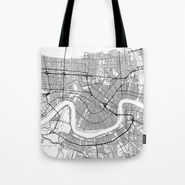 New Orleans Map White Tote Bag