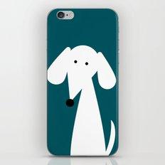 White Dachshund - Turquoise  iPhone & iPod Skin