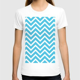 sky blue, white zig zag pattern design T-shirt