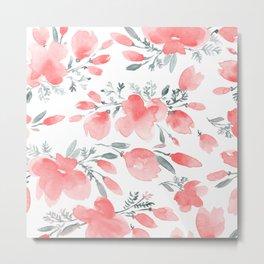 Floral Watercolor, Coral Popies, Floral Prints Metal Print