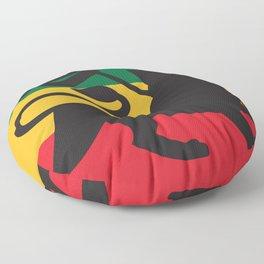rastafarian flag with the lion of judah (reggae background) Floor Pillow
