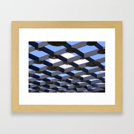 Geometric Shapes Blue Grey White Framed Art Print