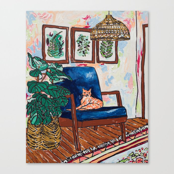 Ginger Cat on Blue Mid Century Chair Painting Leinwanddruck