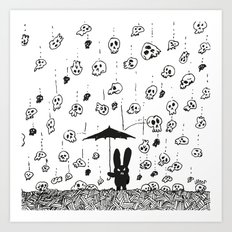 I'm only happy when it rains (skulls) Art Print
