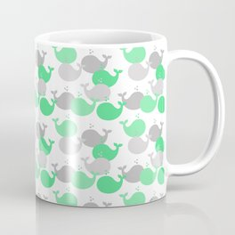 Whales Nautical Mint Green Gray Coffee Mug