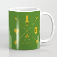 hyrule Mugs featuring HIPSTER ZELDA -HYRULE EDITION by Nick Rees Illustration