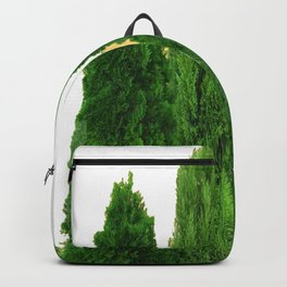 GREEN CYPRESS TREES ON WHITE Backpack