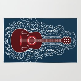 Acoustic Guitar With A Scroll Design Rug
