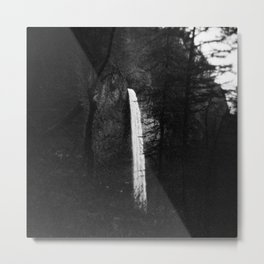 Multnomah Falls in Hiding Black and White Metal Print