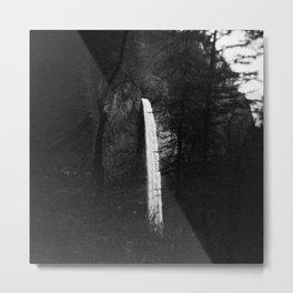 Multnomah Falls in Hiding Black and White Metal Print