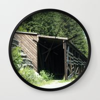 john snow Wall Clocks featuring Snow Shed by NoelleB