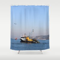 fishing Shower Curtains featuring Fishing by kartalpaf
