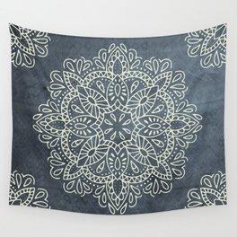 Mandala Vintage Ivory Blue Wall Tapestry