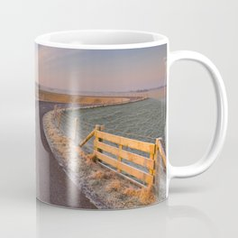 I - Typical Dutch landscape with a dike, in winter at sunrise Coffee Mug