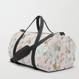 Wonky Watercolor Sea Foam Glitter Mermaid Scales Duffle Bag