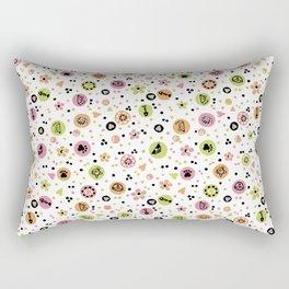 I love Cats - Cat Lovers Heart Flower Meadow - Pink & Spring Green Feline Meow Rectangular Pillow